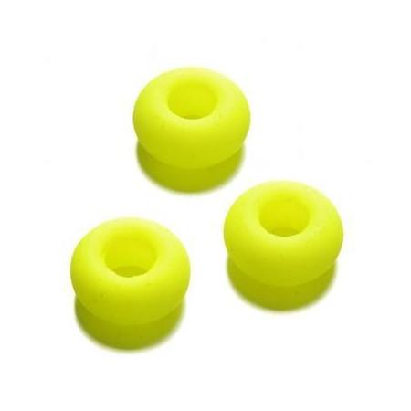 Perle en verre grand trou 9 x 14 mm jaune néon
