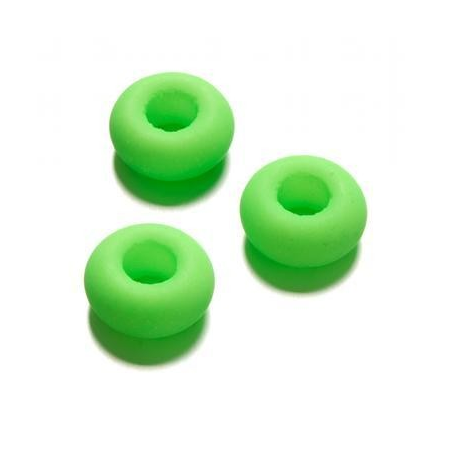 Perle en verre grand trou 9 x 14 mm vert néon