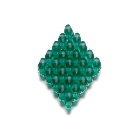 Duo Beads 2 trous 2,5 x 5 mm bleu vert mat transparent 12g