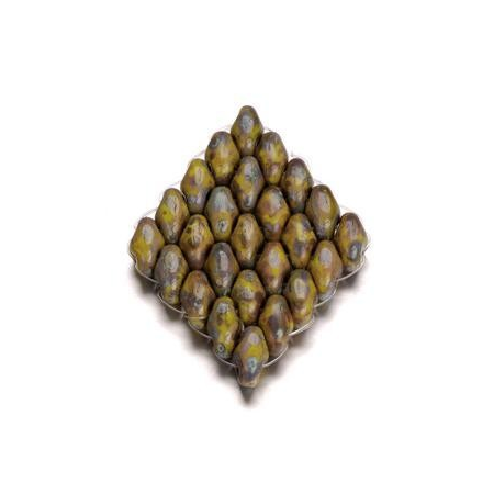 Duo Beads 2 trous 2,5 x 5 mm brun beige opaque 8g
