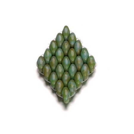 Duo Beads 2 trous 2,5 x 5 mm vert bleu opaque 8g