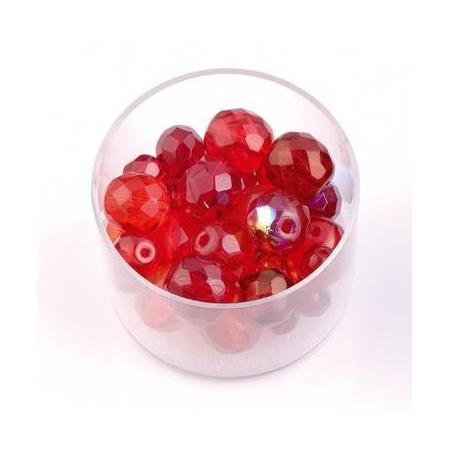 Perles en verre poli mix rouge