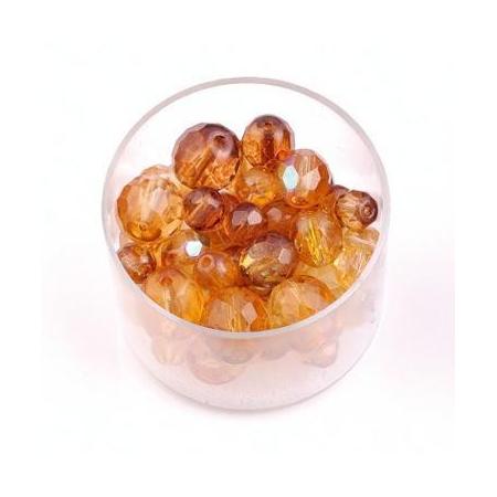 Perles en verre poli mix topaze
