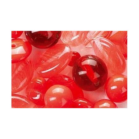Assortiment de perles en verre rouge SB