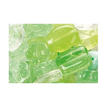 Assortiment de perles en verre vert SB