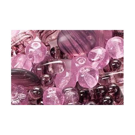 Assortiment de perles en verre lilas SB