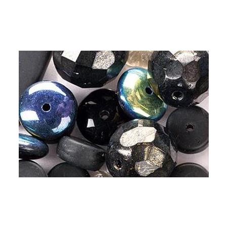 Assortiment de perles en verre noir SB