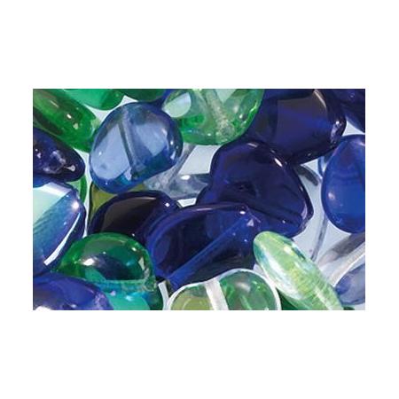Assortiment de perles coeur en verre bleu-vert