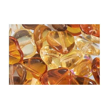 Assortiment de perles coeur en verre doré