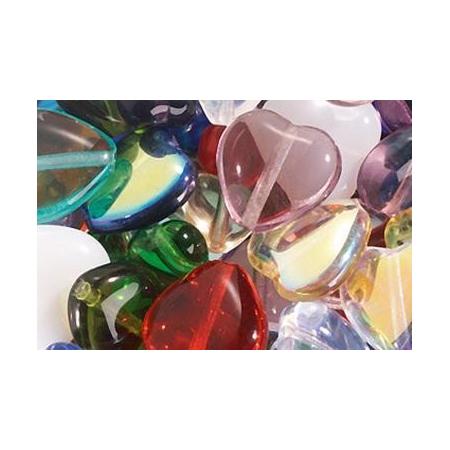 Assortiment de perles coeur en verre multicolor