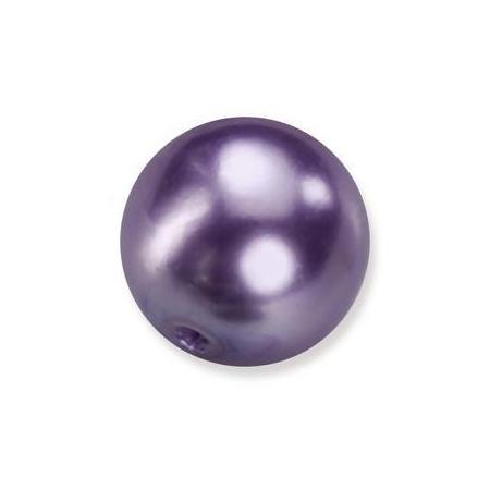 Perles en verre nacrées de Bohème lilas 4mm