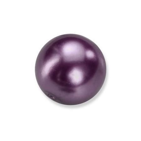 Perles en verre nacrées de Bohème violet 4mm