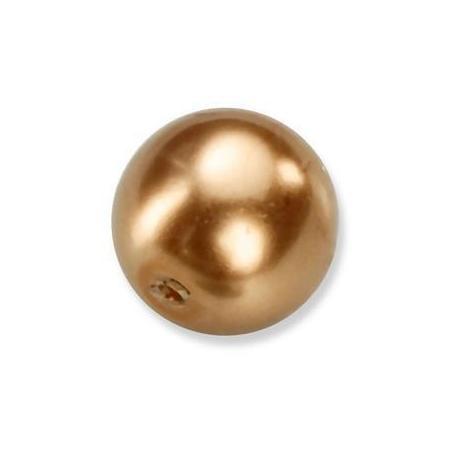 Perles en verre nacrées de Bohème bronze 4mm