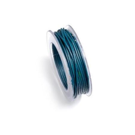Lacets de cuir 1mm 5m bleu pét