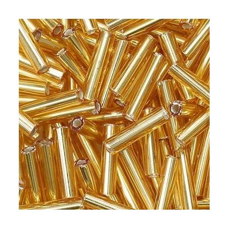 Rocailles bâtons/boîte doré 9x2mm 16 grs