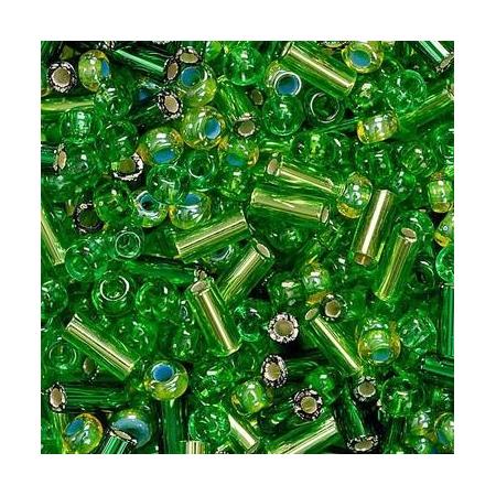 Rocailles assorties 2,5mm vert 20 grs