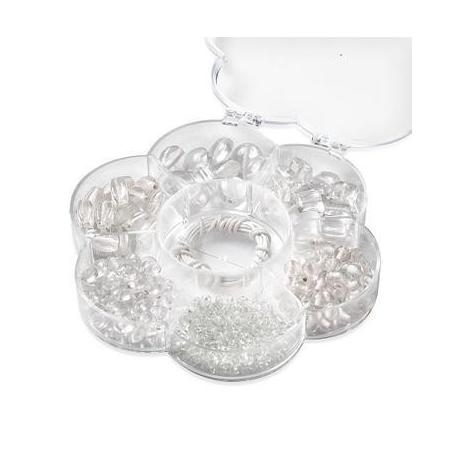 Assortiments de perles en verre blanc + cordon