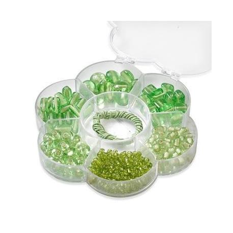 Assortiments de perles en verre vert clair + cordon