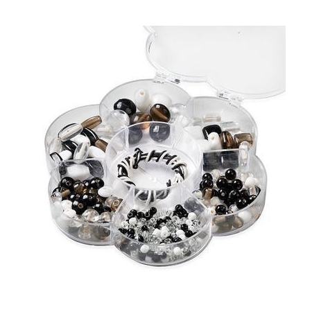 Assortiments de perles en verre noir - blanc + cordon