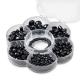 Assortiments de perles en verre noir + cordon
