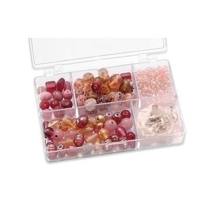 Assortiments de perles rose 5 compartiments
