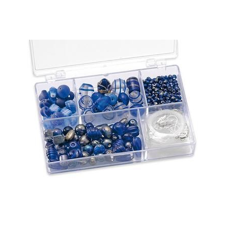 Assortiments de perles bleu 5 compartiments