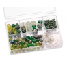 Assortiments de perles vert 5 compartiments