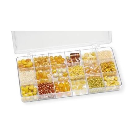 Boîte de perles en verre jaune