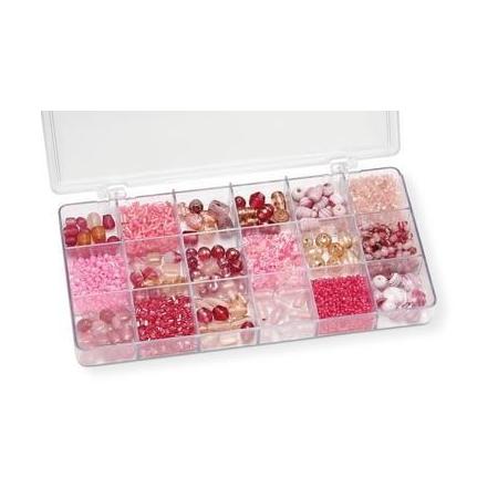 Boîte de perles en verre rose