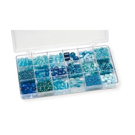 Boîte de perles en verre bleu clair