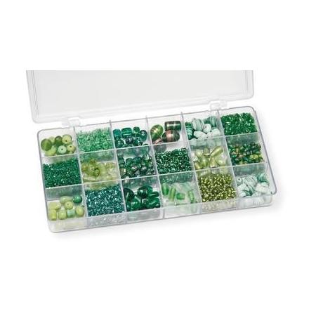Boîte de perles en verre vert