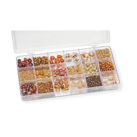 Boîte de perles en verre brun