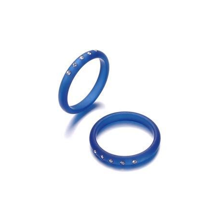 Bague Polaris 3mm 5 strass Swarovski taille18 bleu