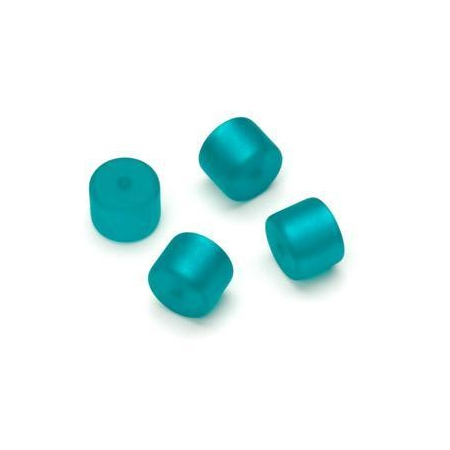 Perle Cylindre Polaris mate 8x10mm turquoise