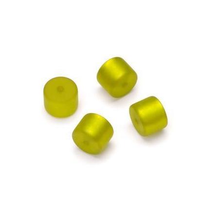 Perle Cylindre Polaris mate 8x10mm vert clair