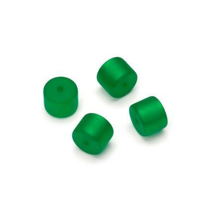 Perle Cylindre Polaris mate 8x10mm vert