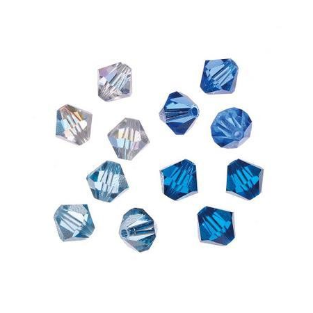 Set de perles Swarovski toupies bleu