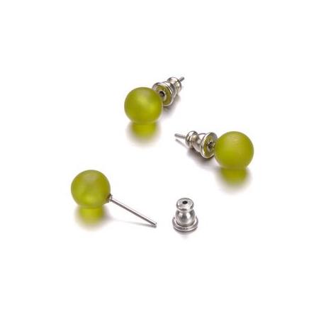 Paire boucles d'oreilles Polaris vert 8mm