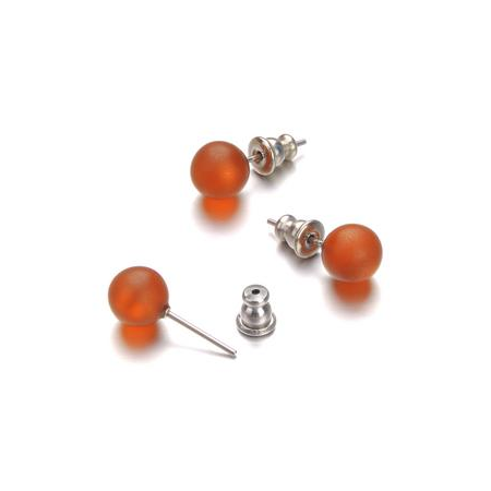 Paire boucles d'oreilles Polaris orange 8mm