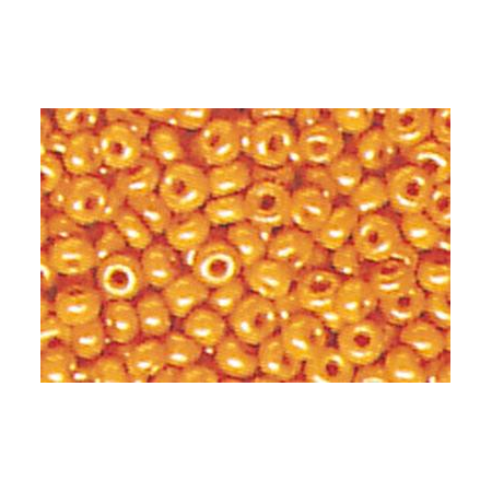 Rocailles ronde opaque , orange 15 grs