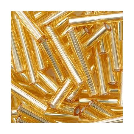 Rocailles bâtons 15x2mm doré 10 grs
