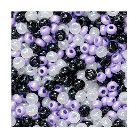 Rocailles assorties 2,5mm lilas/noir/blanc 20 grs