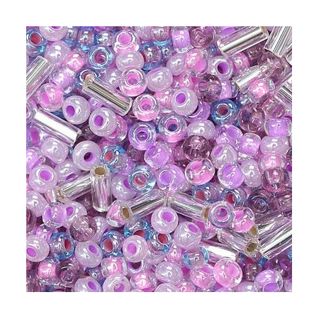 Rocailles assorties 2,5mm lilas 20 grs
