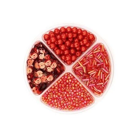Assorties de perles/paillettes rouge