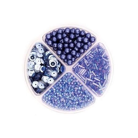 Assorties de perles/paillettes bleu