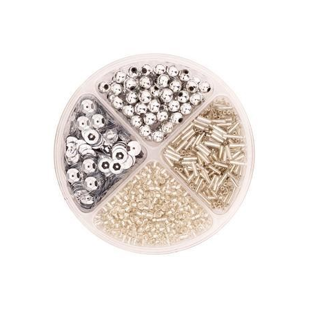 Assorties de perles/paillettes argenté
