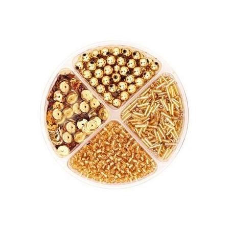 Assorties de perles/paillettes doré