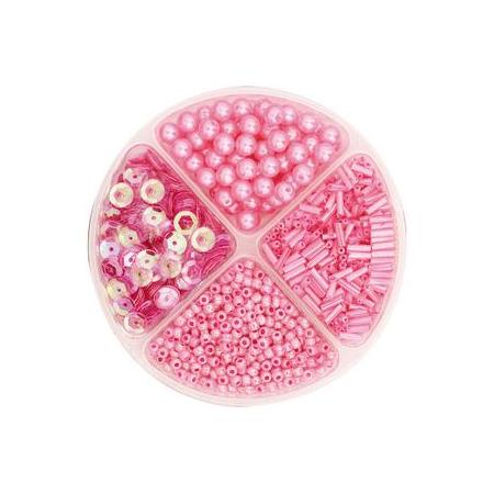 Assorties de perles/paillettes rose