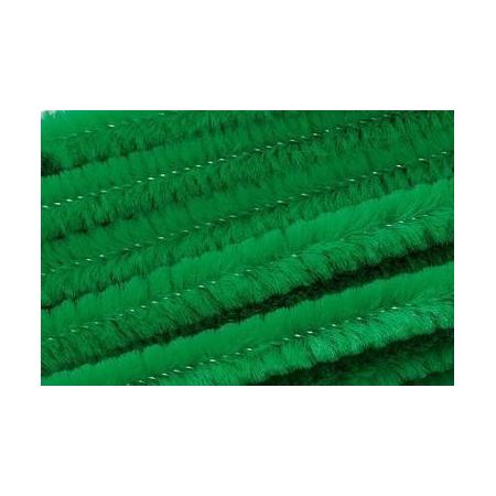 Chenille 50cm, vert printemps 8mm 10 pces
