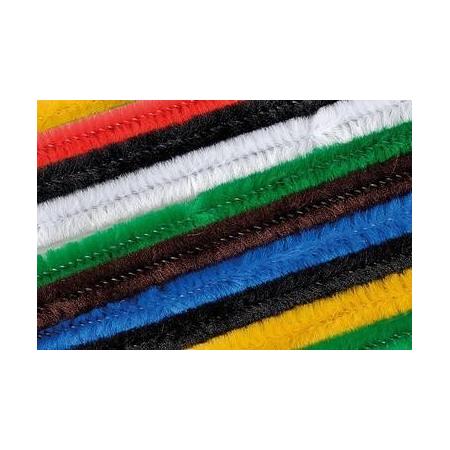 Chenille 50cm, coloris assort. 8mm 10 pces